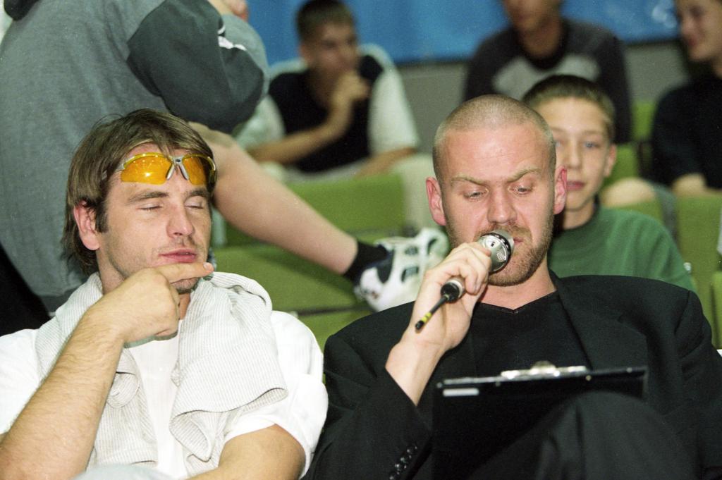 M. Mikutavičius ir L. Kunigėlis krepšinio rungtynėse. A. Pliadžio nuotr.