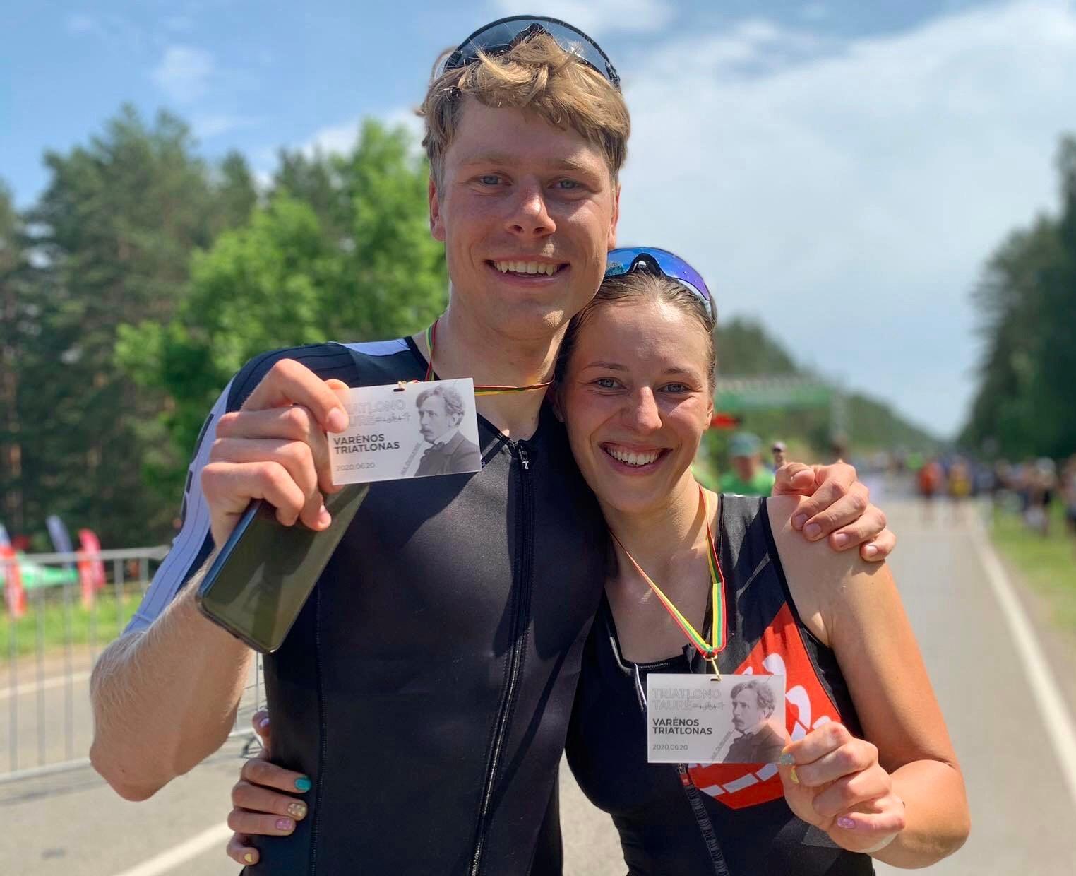 Olivija Baleišytė ir Justas Beniušis triatlono varžybose.