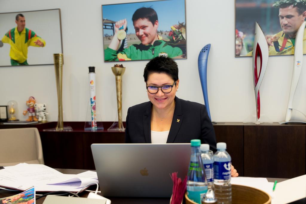 Daina Gudzinevičiūtė at the virtual LNOC General Assembly session. (Photo by Elvis Žaldaris).